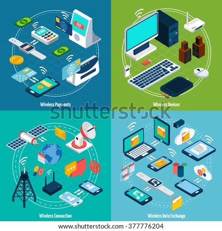 Wireless technologies design concept set with payment and data exchange devices isometric icons isolated vector illustration  - stock vector
