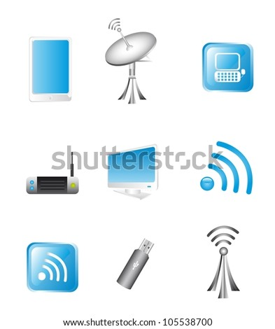 Wireless Technology and communication icons. vector