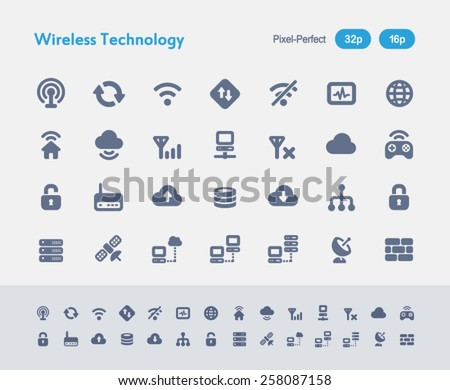 Wireless Technology. Ants Icon Series. Simple glyph style icons designed in a 32x32px grid and redesigned in a 16x16px grid. - stock vector