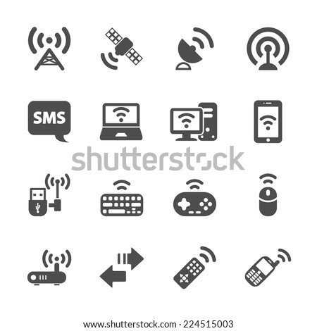 wireless technology communication icon set, vector eps10