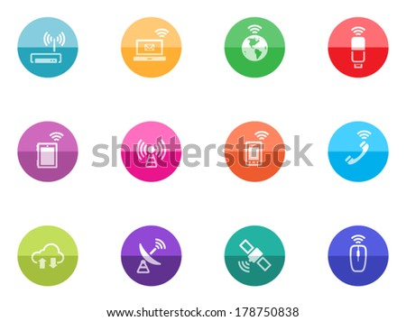 Wireless technology icon series in color circles.  - stock vector