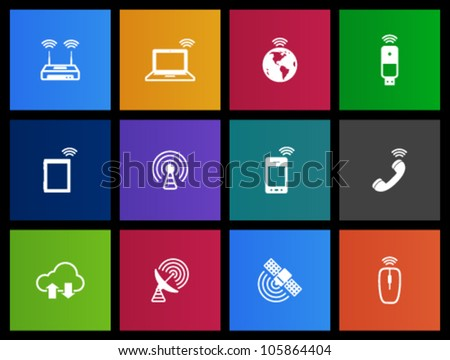 Wireless technology icon series in Metro style - stock vector