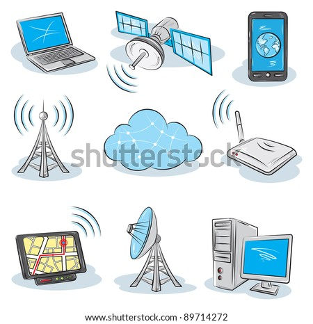 Wireless Technology  icons - stock vector