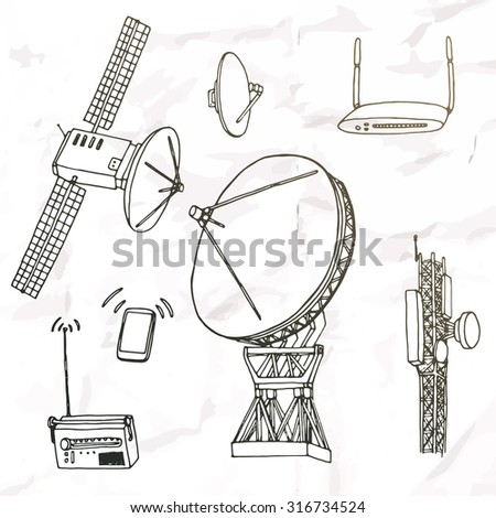 Wireless technology object set. Hand drawn elements. - stock vector