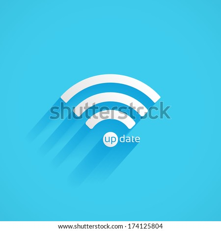 Wireless, update vector flat icon isolated on a blue background for your design, vector illustration - stock vector