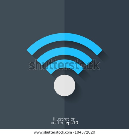 Wireless web icon. Flat design. - stock vector