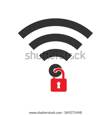 Wireless Wifi Signal Safety Protection Vector Icon - stock vector