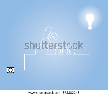 Wiring to be formed Rabbits and eggs of light bulbs. Easter day. Vector illustration. - stock vector
