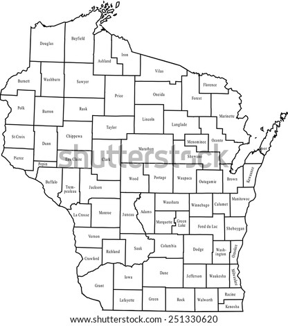 Wisconsin County Map Stock Images RoyaltyFree Images Vectors - Wiscinsin map