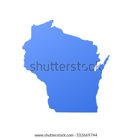 Wisconsin state border,map - stock vector
