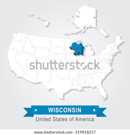 Wisconsin state. USA administrative map.