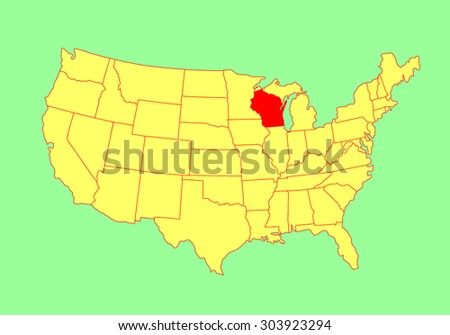 Wisconsin State Usa Vector Map Isolated Stock Vector - Us map wisconsin