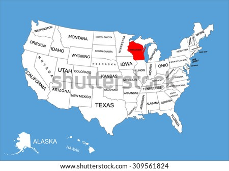 Wisconsin State, USA, vector map isolated on United states map. Editable blank vector map of USA. - stock vector