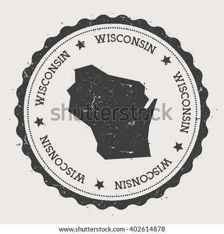 Wisconsin Vector Map Stamp Retro Distressed Stock Vector - Wisconsin in us map