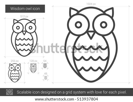 Wisdom owl vector line icon isolated on white background. Wisdom owl line icon for infographic, website or app. Scalable icon designed on a grid system.