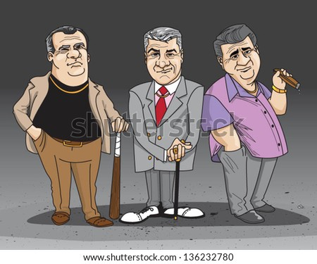 wise guys 2 - vector (can enlarge to any size you want) - stock vector