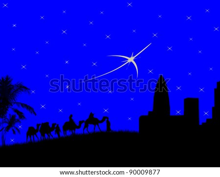Wise men traveling to Bethlehem, following the star - vector illustration