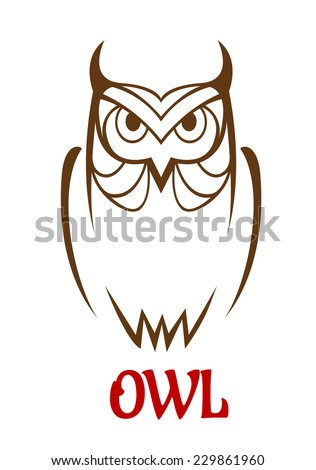 Wise old owl vector sketch with a frontal outline view of an owl looking at the viewer with a studious expression - stock vector