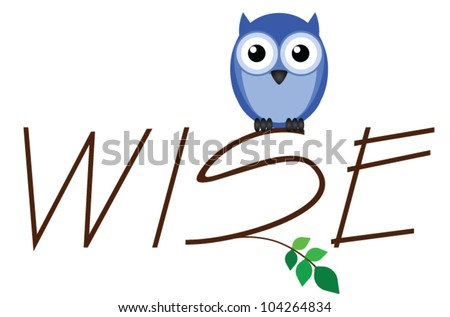 Wise owl twig text isolated on white background