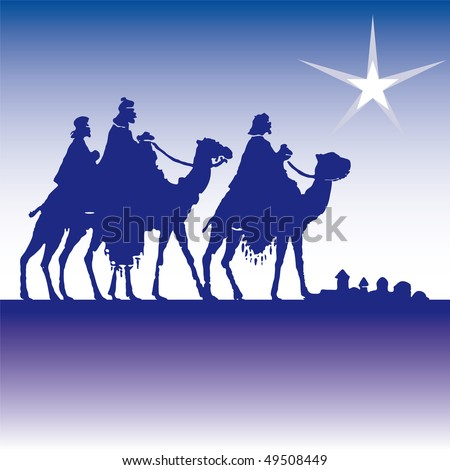 wisemen silhouette cartoon vector illustration - stock vector