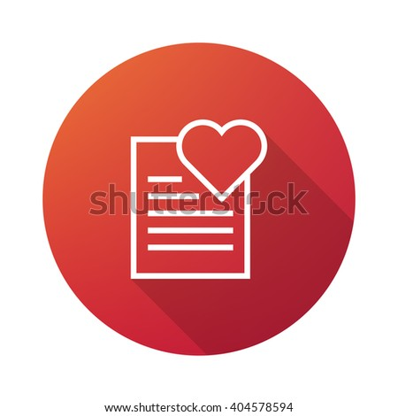 Wish List Outline Icon White on Gradient Background with Long Shadow - stock vector