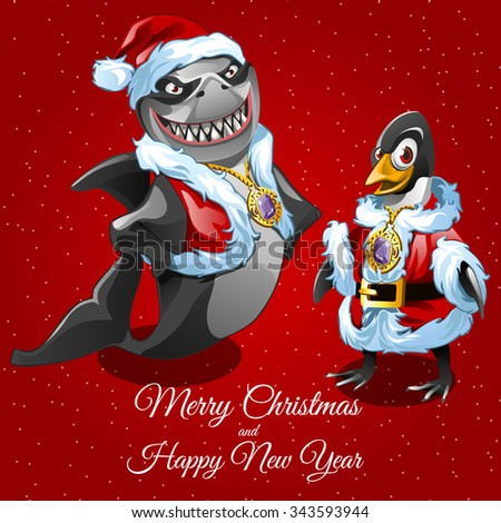 Wishes merry Christmas from sharks Santa and his friend poultry  - stock vector