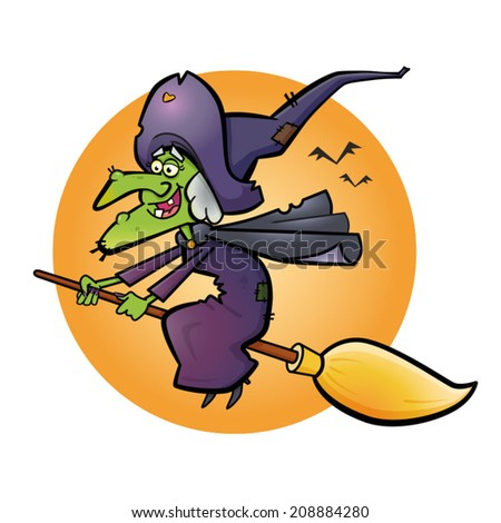 Witch A vector illustration of a Witch on a broomstick. - stock vector
