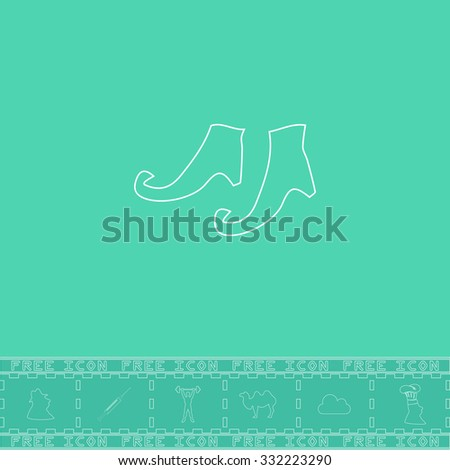 Witch boots. White outline flat symbol and bonus icon. Simple vector illustration pictogram on green background