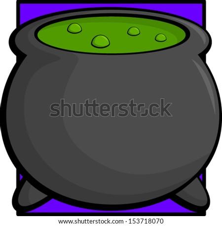 witch cauldron - stock vector