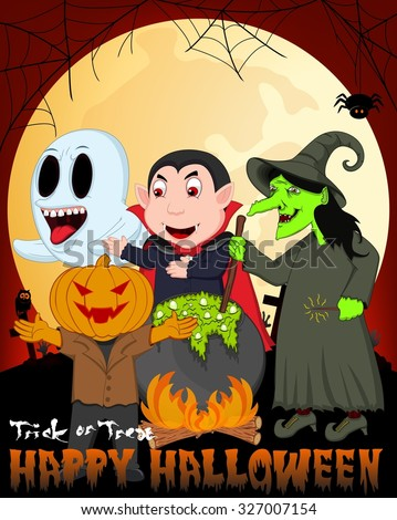 Witch Cooking, Dracula, Mr. Pumpkin And Ghost Under Full Moon Vector Illustration For Happy Halloween