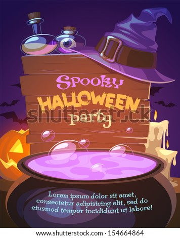 Witch crafting pot. Halloween card\poster. Vector illustration. - stock vector