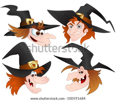 Witch Faces - stock vector