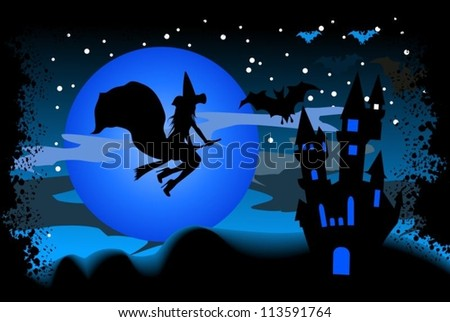 Witch flying on a broom to the castle