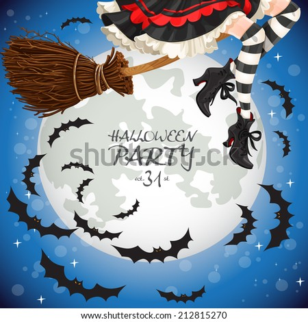 Witch flying on a broomstick banner - stock vector