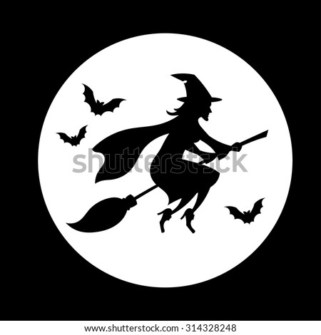 Witch flying over the moon // Silhouette // Halloween // Black & White - stock vector