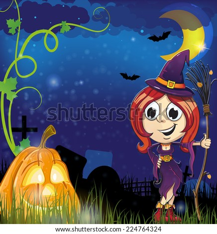 Witch girl with broom  and jack o lantern in the cemetery. Halloween night scene - stock vector