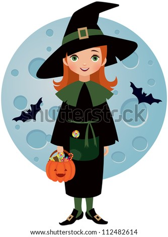 Witch Halloween on background of the moon - stock vector