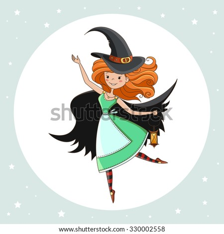 witch halloween witch little witch element for design prints and greeting cards - Halloween Witch Cartoon