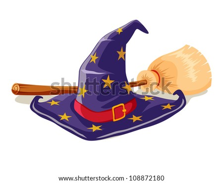 Witch hat and broomstick - stock vector