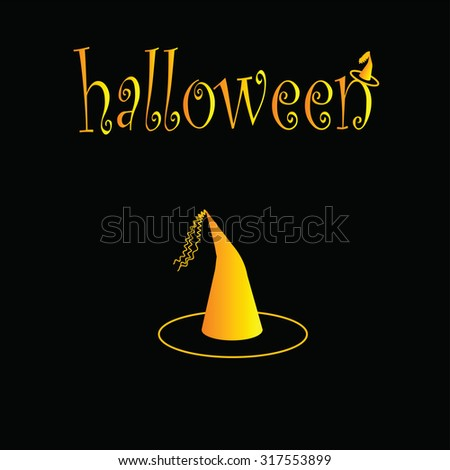 Witch Hat Symbol Halloween On Black Stock Vector 317553899