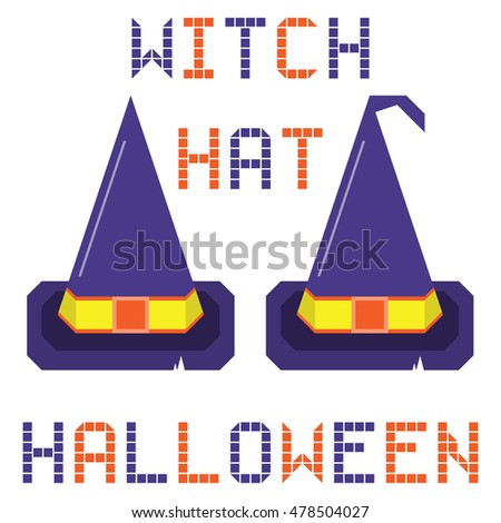 witch hat halloween set on the white background