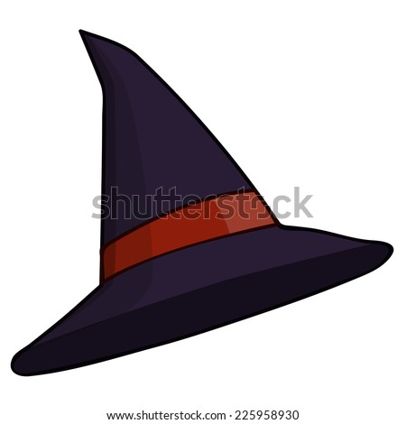 Witch hat isolated illustration on white background - stock vector