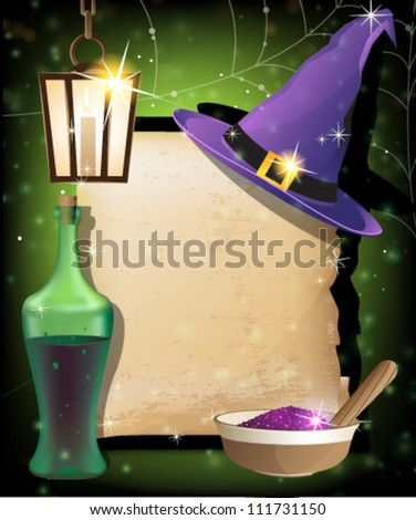Witch hat, lantern, bottle of potion,  mortar with powder and ancient manuscript on a sparkling background. Magic accessories - stock vector
