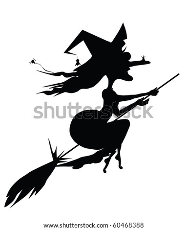 witch on a broomstick - stock vector