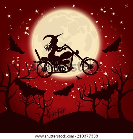 Witch on a motorcycle - stock vector