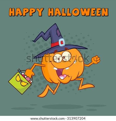 Witch Pumpkin Cartoon Character Running With A Halloween Candy Basket. Vector Illustration Greeting Card Design - stock vector