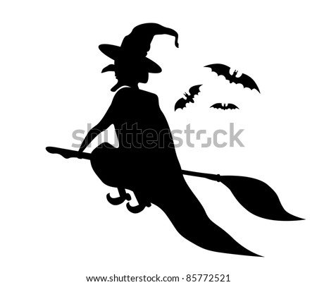 Witch silhouette - stock vector