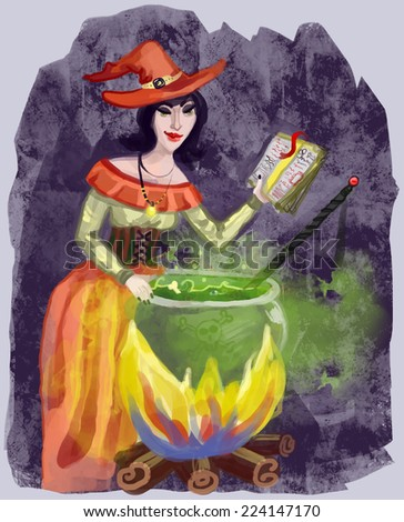 Witch with Cauldron - stock vector