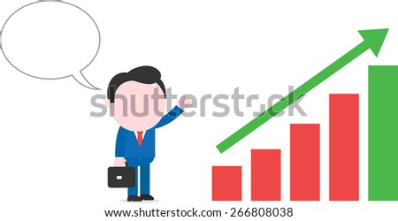With bubble briefcase faceless cartoon businessman standing beside bar chart with arrow moving up - stock vector