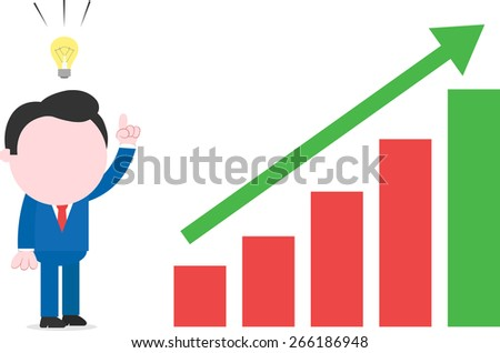 With idea faceless cartoon businessman standing beside bar chart with arrow moving up - stock vector